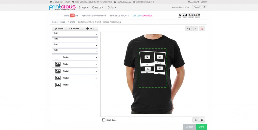 Design Your Own Collage T-shirt | Malaysia & Singapore