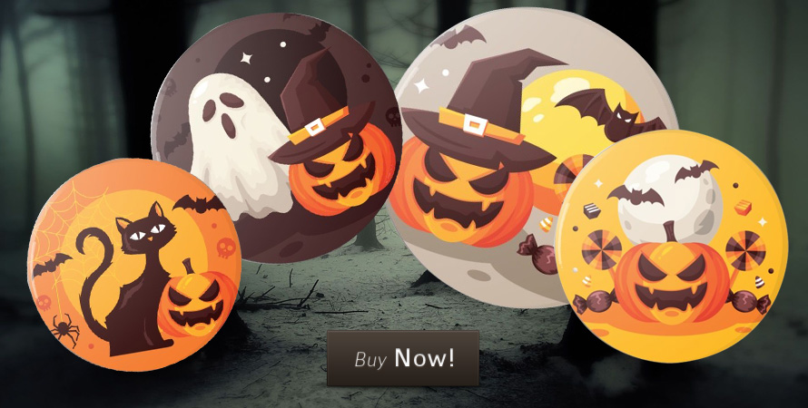 Spookily cute Halloween button badges for sale on 30% off