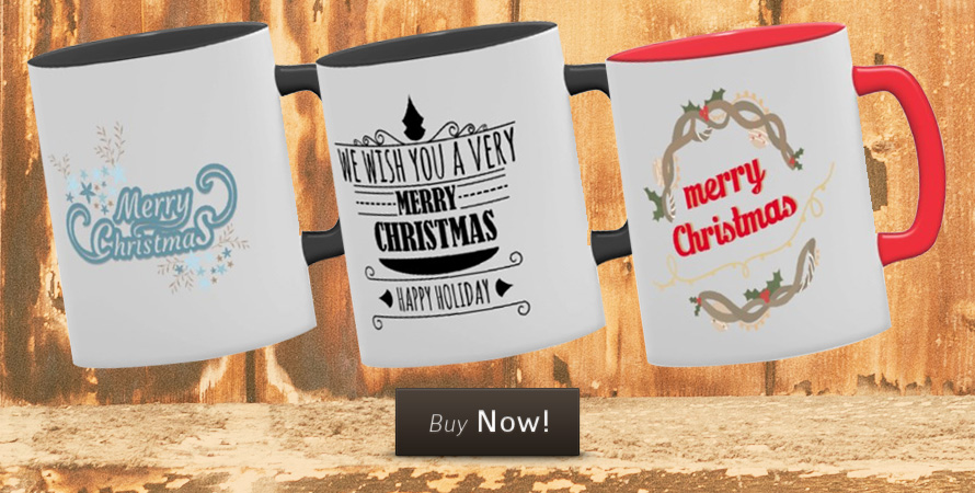 Christmas mugs with custom Christmas printing