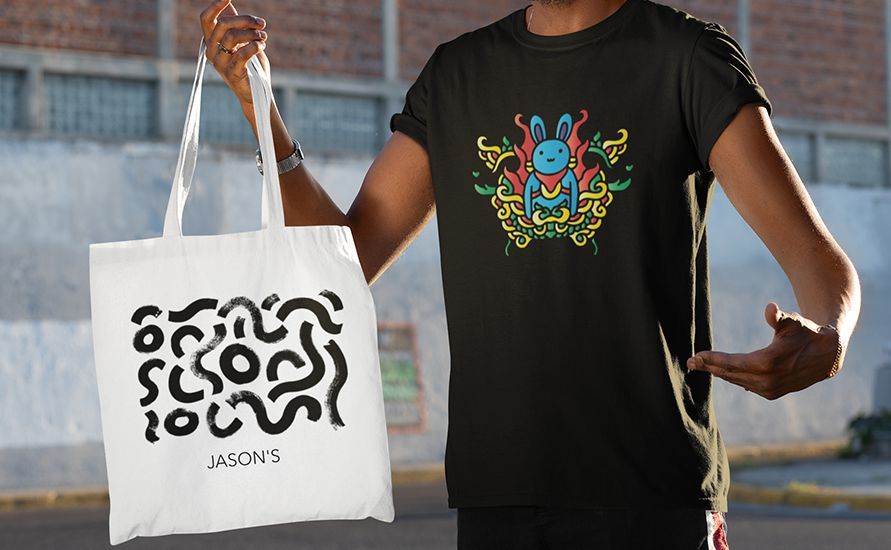 Doodle art t-shirt and totebag